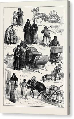 Sketches In St. Petersburg Beggars Tradesmans Sleigh Monk Canvas Print by English School