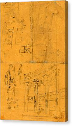 Bunting Canvas Print - Sketches Of Details Of Bunting For Lincolns Funeral, 1865 by Quint Lox