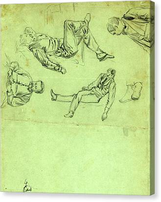 Sketches Of Figures In Repose, 1865, Drawing, 1862-1865 Canvas Print by Quint Lox