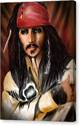 Orlando Bloom Canvas Print - Sketching A Pirate... by Alessandro Della Pietra