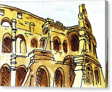 Sketching Italy Rome Colosseum Ruins Canvas Print