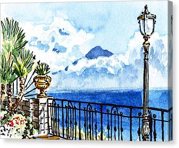 Sketching Italy Sorrento View On Volcano Vesuvius Canvas Print