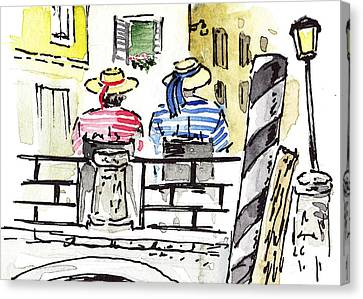Sketching Italy Two Gondoliers In Venice Canvas Print