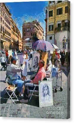 Historical Canvas Print - Sketching Portraits Outside Trinita Dei Monti At Piazza Di Spagna by George Atsametakis