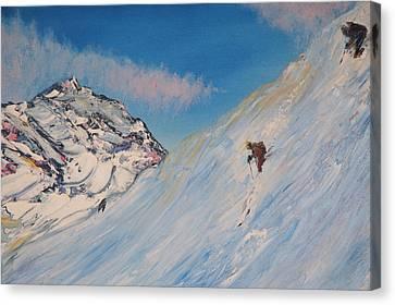 Ski Alaska Heli Ski Canvas Print by Gregory Allen Page