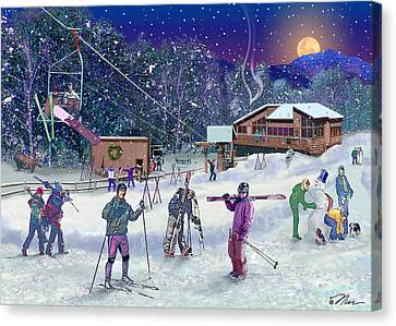 Ski Area Campton Mountain Canvas Print by Nancy Griswold
