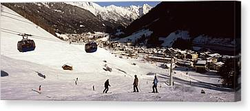 Ski Lift In A Ski Resort, Sankt Anton Canvas Print by Panoramic Images