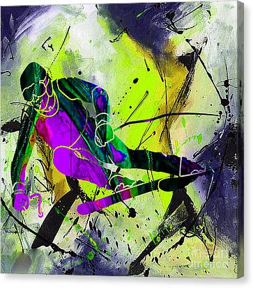 Downhill Canvas Print - Ski Painting by Marvin Blaine