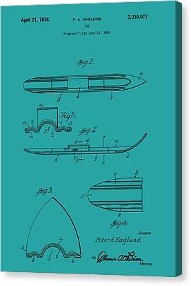 Alpine Canvas Print - Ski Patent by Dan Sproul