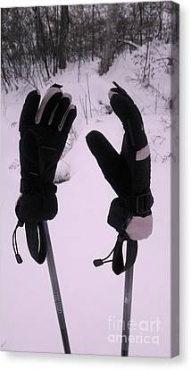 Canvas Print featuring the photograph Ski Poles by Polly Anna