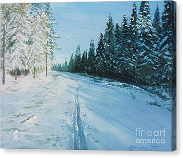 Canvas Print featuring the painting Ski Tracks by Martin Howard