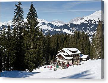 Mountain Canvas Print - Ski Und Berghaus Schifer Davos Parsenn Klosters Land by Andy Smy