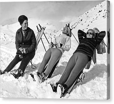 Skiers Basking In The Sun Canvas Print by Underwood Archives