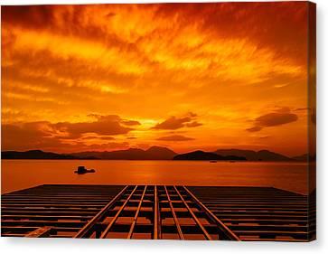 Skies Ablaze - One Canvas Print by Roy Cruz