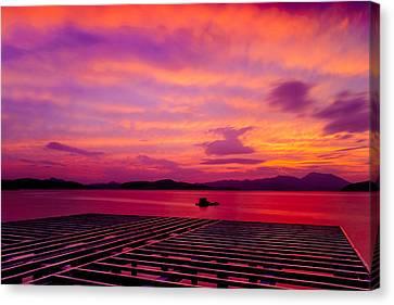 Skies Ablaze - Two Canvas Print by Roy Cruz
