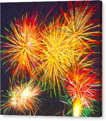 4th July Canvas Print - Skies Aglow With Fireworks by Mark E Tisdale