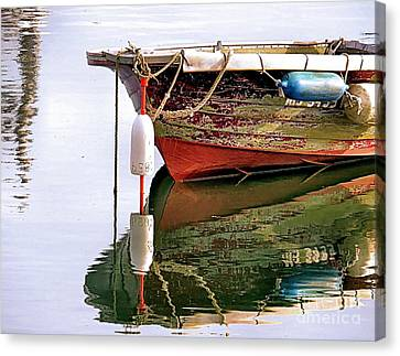 Skiff Reflections Canvas Print by Janice Drew
