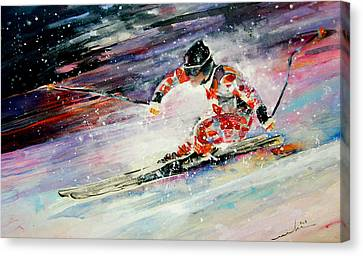 Skiing 01 Canvas Print by Miki De Goodaboom