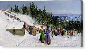 Skiing Competition In Fjelkenbakken Canvas Print by Gustav Wentzel