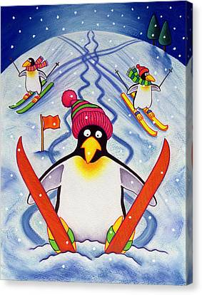 Skiing Holiday Canvas Print by Cathy Baxter