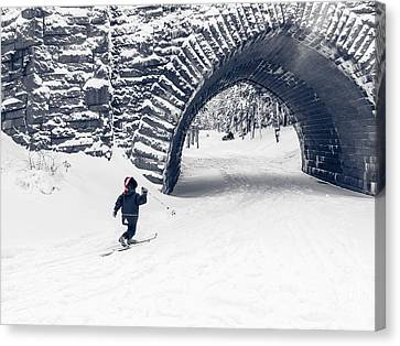 Skiing In Acadia National Park Canvas Print by Edward Fielding