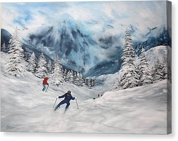 Canvas Print featuring the painting Skiing In Italy by Jean Walker