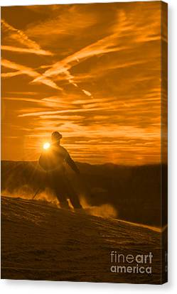 Skiing West Virgina Sunset Canvas Print by Dan Friend
