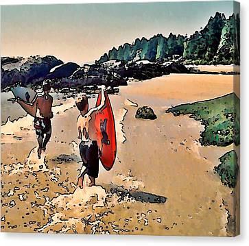 Skim Boarders Canvas Print by Stanley  Funk