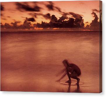 Canvas Print featuring the photograph Skimboarding At Dawn by Timothy Lowry