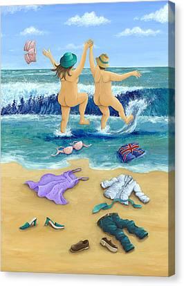 Skinny Canvas Print - Skinny Dippers by Peter Adderley