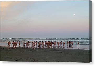 Skinny Dipping Down A Moon Beam Canvas Print