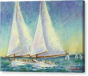 Skip Jack Races Canvas Print by Bruce Schrader