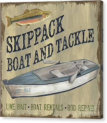 Navy Canvas Print - Skippack Boat And Tackle by Debbie DeWitt