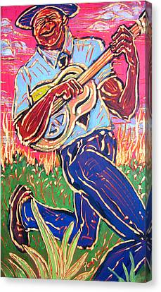 Skippin' Blues Canvas Print by Robert Ponzio