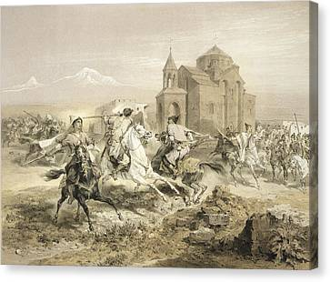 Skirmish Of Persians And Kurds Canvas Print by Grigori Grigorevich Gagarin
