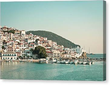 Skopelos Harbour Canvas Print by Tom Gowanlock
