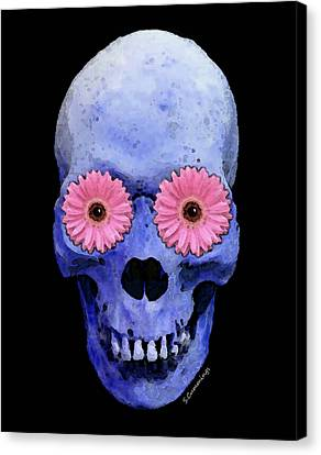 Skull Art - Day Of The Dead 1 Canvas Print by Sharon Cummings