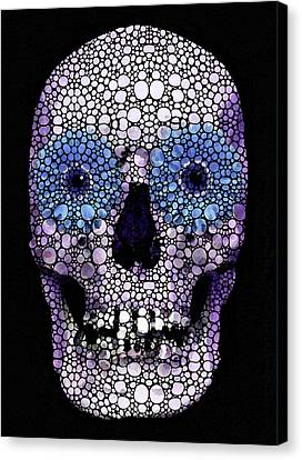 Skull Art - Day Of The Dead 2 Stone Rock'd Canvas Print by Sharon Cummings