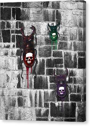Skull Backed Beatles Canvas Print by Diana Shively
