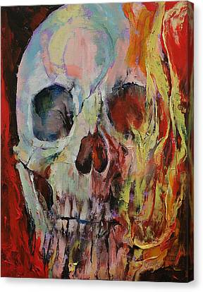 Skull Fire Canvas Print by Michael Creese