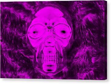 Skull In Negative Purple Canvas Print