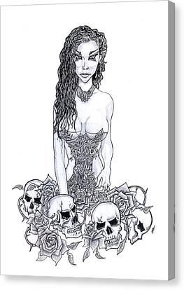 Skull Maiden Canvas Print by Leon Bale