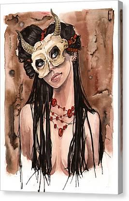Skull Mask Canvas Print by Carla Wyzgala
