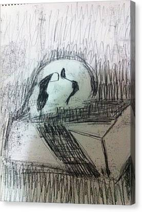 Skull On Box Canvas Print by Khoa Luu