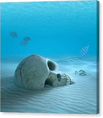 Danger Canvas Print - Skull On Sandy Ocean Bottom by Johan Swanepoel