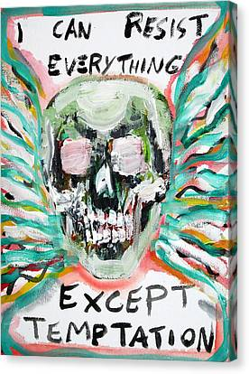 Skull Quoting Oscar Wilde.7 Canvas Print by Fabrizio Cassetta