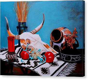 Skull Still Life Canvas Print by M Diane Bonaparte