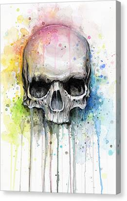 Mix Media Canvas Print - Skull Watercolor Painting by Olga Shvartsur