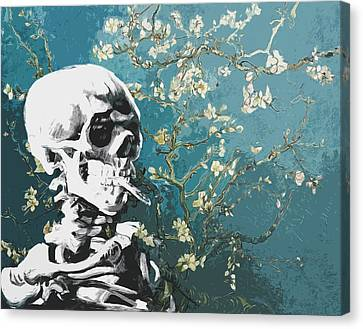 Impressionism Canvas Print - Skull With Burning Cigarette On Cherry Blossom by Filippo B