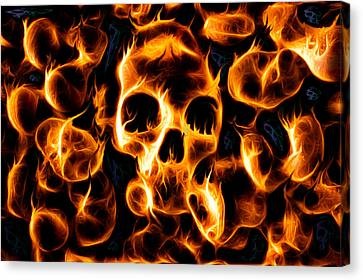 Skulls Of Fire Canvas Print by Ian Hufton